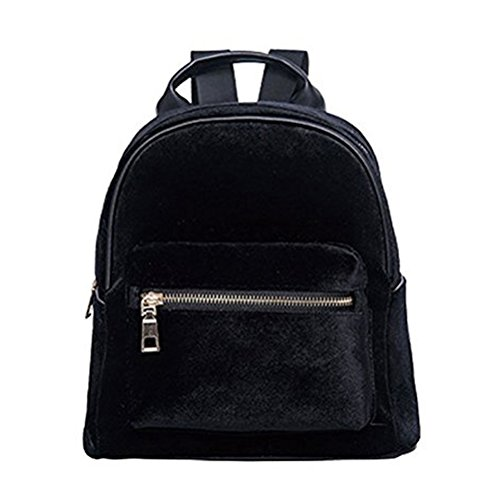 Donalworld Girl Velvet Backpack Cute Casual Zipper Solid Bags