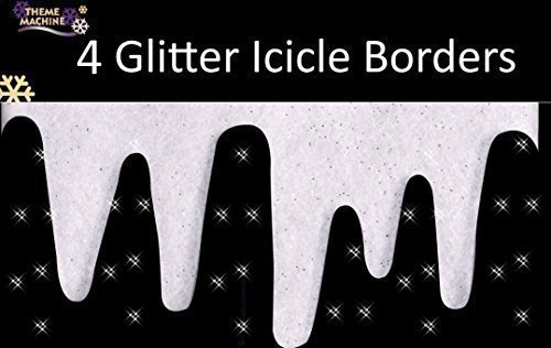 Glitter Icicle Borders Snow Decoration Pack of 4