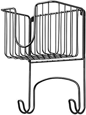 Compacto soporte para plancha en metal para lavadero Estante de pared para planchador con cesta para plancha y dem/ás mDesign Colgador de pared peque/ño para tabla de planchar plateado