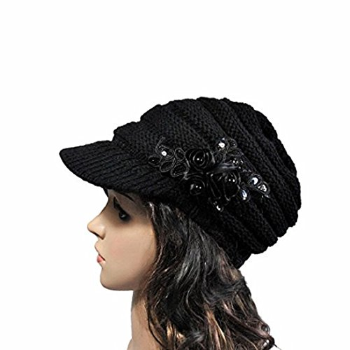 AutumnFall Womens Lady's Winter Cable Knit Visor Hat with Flower Accent (Black)