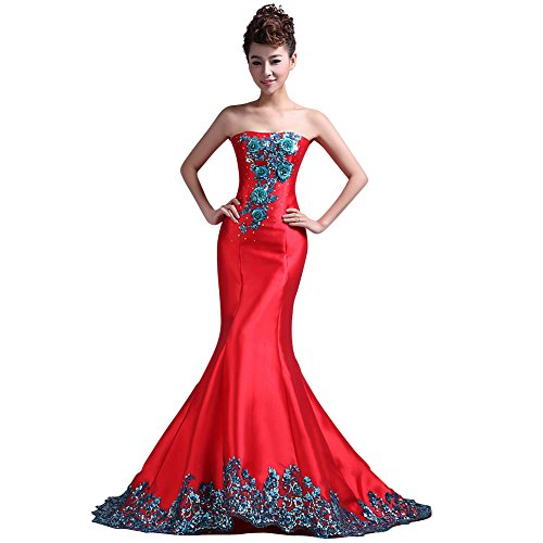 VogueZone009 Womens Strapless Satin Surah Sweep Train Full Dress with Embroidery-16W-Red by VogueZone009