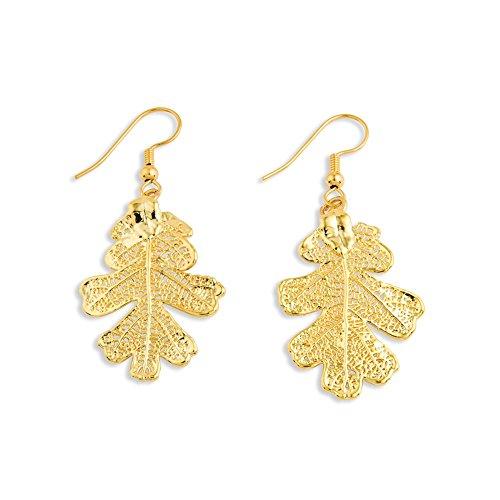 Goldia 24k Gold Dipped Oak Leaf Dangle Earrings