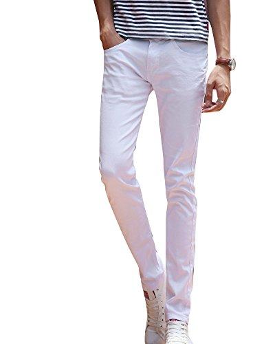 Casual Straight Pantaloni Sottile Gioventù Jeans Bianco Elasticità Maschi Uomo cy1v4gSx