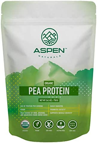 Aspen Naturals Organic Pea Protein - 26.5 oz. Unflavored, Plant Based, Gluten Free, Non-GMO Vegan Protein Powder. Supports Muscle Growth and Recovery. Keto Low Carb