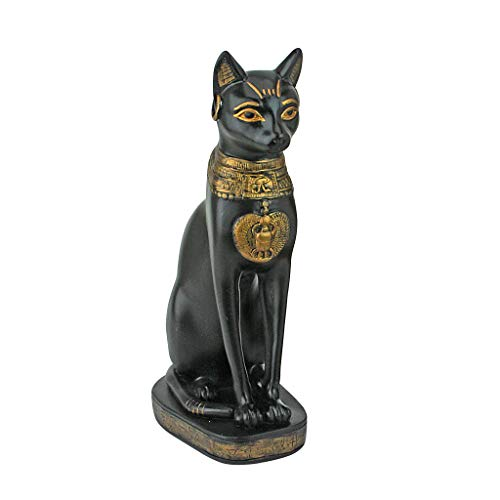 Design Toscano Egyptian Cat Goddess Bastet with Earrings Statue, 8 Inch, Polyresin, Black and Gold]()