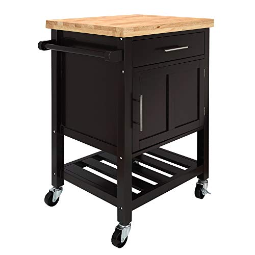 Homegear Kitchen Cart Butchers Block with Shelf and Cabinet on Wheels ()