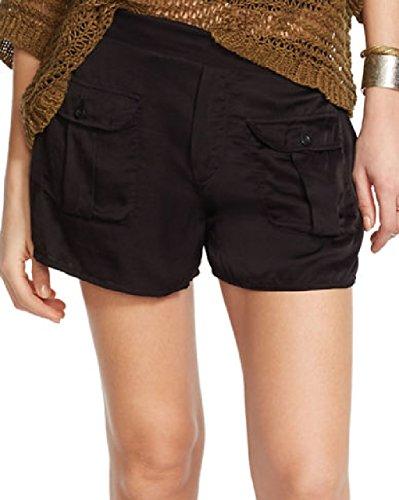 Denim & Supply Ralph Lauren Womens Flap Pockets Pull On Casual Shorts Black (Lauren Flap Pocket Jeans)