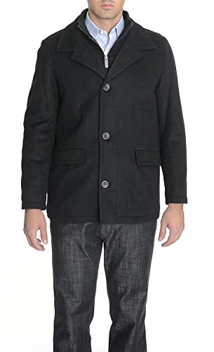 - Nautica Mens Wool Cashmere Blend Winter Jacket Car Coat With Mock Liner