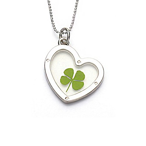 Chuvora Stainless Steel Real Four Leaf Clover Dangling Heart Pendant Necklace, 16-18 (Dangling Heart Pendant)