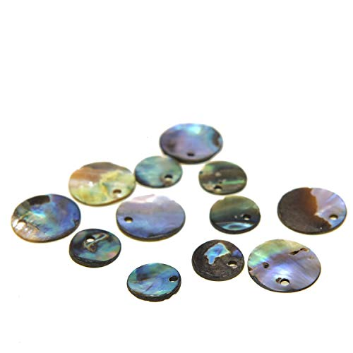 Monrocco 12 pcs Abalone Shell Beads Natural Black Round DIY Shell Beads for Jewelry - Abalone Bead Round Shell