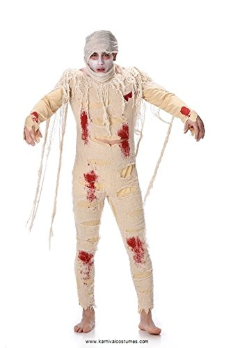 Mummy Dress Up (Male Mummy Costume - Halloween Bloody Egyptian Undead Bodysuit, Medium)