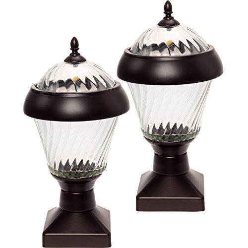 GreenLighting 2 Pack Bahama 20 Lumen High End Solar Post Cap Lights for 4x4 Wood Posts (Remington Bronze)