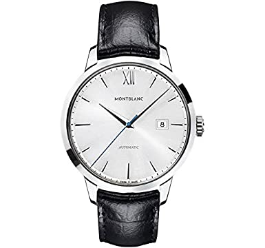 c438677a493 Image Unavailable. Image not available for. Color  Montblanc Meisterstuck  Heritage Silver Dial Black Leather Mens Watch 111622
