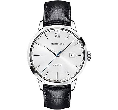 Montblanc Meisterstuck patrimonio plata Dial Negro Cuero Mens Reloj 111622: Amazon.es: Relojes