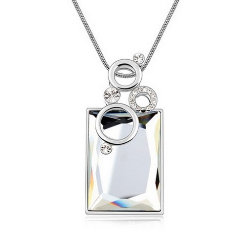 Alvdis Premium Rectangle Shaped Coffee Crystal Pendant Long Chain Necklace - Elegant & Classy Design (White)