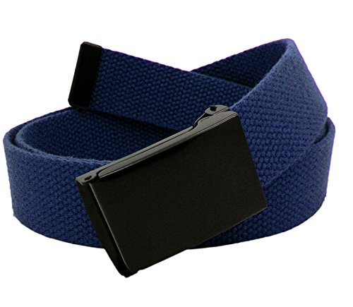 Boy's School Uniform Black Flip Top Military Belt Buckle with Canvas Web Belt Medium Navy Blue ()