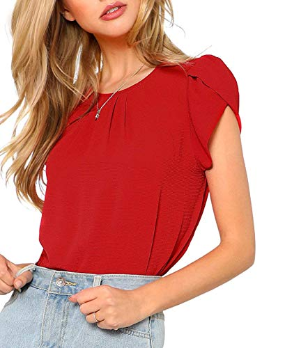 (Milumia Women's Casual Round Neck Basic Pleated Top Cap Sleeve Curved Keyhole Back Blouse Red)