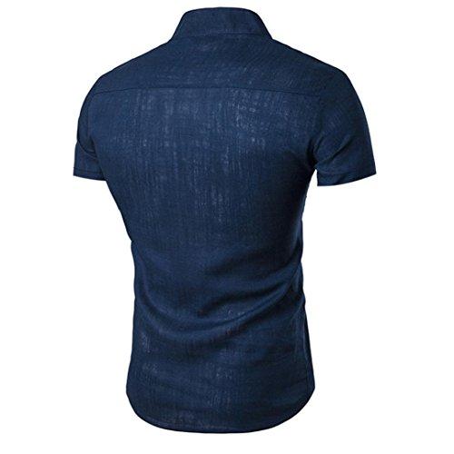 Quotidien S Masculine Adeshop Taille Pure Lin Hommes Look Montant À Mode Manches Courtes 2xl Tops Chemises Blouse Col Couleur Chemise Casual Bouton Lche Marine Haut En BwEqz7rB