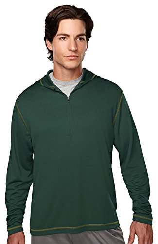 (Tri-Mountain Men's 1 4 Zip Hooded Pullover Shirt, MOSS/CYPRESS, XXXX-Large )