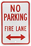SmartSign Aluminum Sign, Legend ''No Parking Fire Lane'' with Arrow, 18'' high x 12'' wide, Red on White