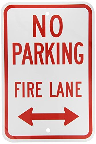 SmartSign-Aluminum-Sign-Legend-No-Parking-Fire-Lane-with-Arrow-18-high-x-12-wide-Red-on-White
