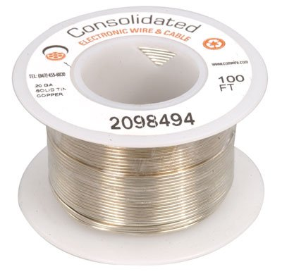 Jameco Valuepro 3817-100 Wire, 20 AWG, Solid Tinned-Copper Bus Bar, 100' Length, -