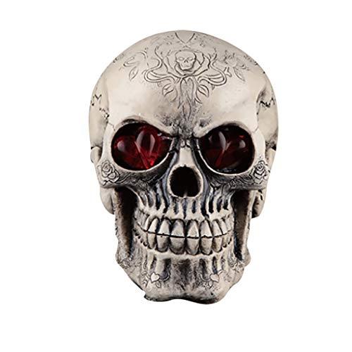Halloween Mesh Decorations (Fan-Ling Halloween Skull Model,Halloween Decorations Resin Wacky Funny Novelty Skull Toys,Fake Skull Party Prop,Halloween Decoration Toy Funny Spoof Light LED Eye Ghost Scary Terror Skull Prop)