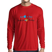 Long Sleeve t Shirt Men An Aplle a Day - Funny Sayings, Great Unusual Gift Ideas