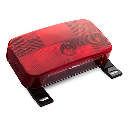 Lumitronics Red Surface Mount Tail Light with License Bracket and License Light For Safe Driving At All Hours. Stop, Turn, Tail Light - Black Base