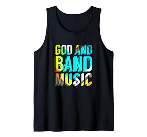 God and Band Music Christian Musician Colorful Music Novelty Tank Top (Sunday School Lessons On Praise And Worship)