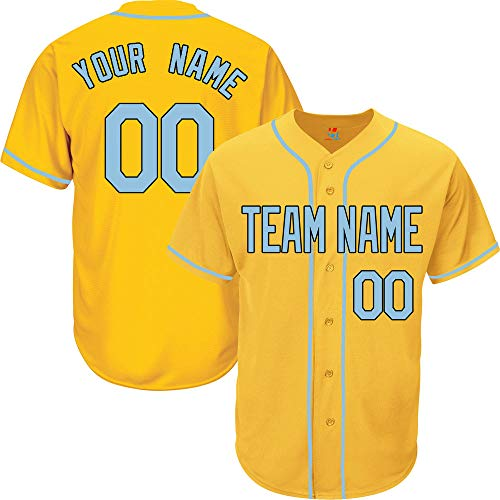 Yellow Custom Baseball Jersey for Women Button Down Embroidered Team Player Name & Numbers,Light Blue-Black Size L