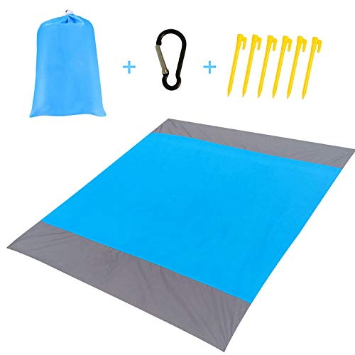 LSYCG Sand Free Beach Blanket, Durable Sandproof Waterproof Beach Mat - Lightweight Quick-Drying Ripstop Picnic Blanket for Beach, Camping, Hiking, Music Festival, Machine Washable ()