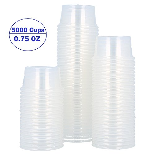 Clear Plastic Durable Disposable Portion Cups - for Food, Drinks, Souffle, Sauces - for Home, Kitchen, Takeout, Dining, Restaurant, Lids Sold Separately (Case of 5000 Cups, 0.75 oz)