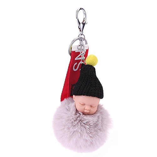 Jocestyle Women Clothing Decoration Accessories Plush Sleeping Baby Doll Key Chain Alloy Key Holder Women Bag Pendant(Grey) from Jocestyle