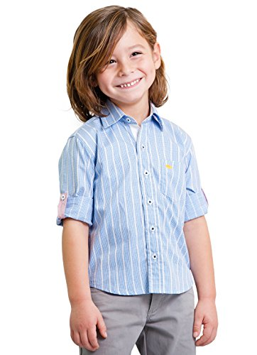 Boys' Blue Oxford Striped Dress Shirt with Roll Up Sleeve - 100% Pima Cotton 2T