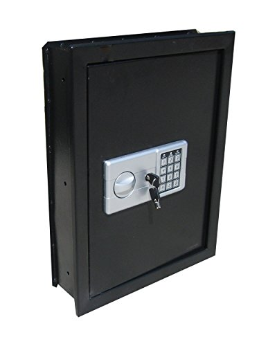 Digital Electronic Flat Recessed Wall Hidden Safe Security Box Jewelry Gun Cash (Black)