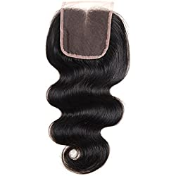 "Grand Nature Middle Part Body Wave Lace Closure Unprocessed Brazilian Virgin Human Hair Extensions (Middle Part 10"")"
