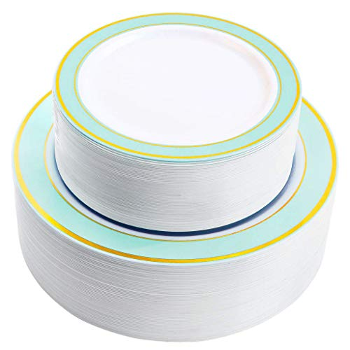 NERVURE 102 PCS Mint with Gold Rim Disposable Plates-Wedding and Party Plastic plate Include 51PCS 10.25inch Dinner Plates And 51PCS 7.5inch Dessert/Salad Plates - Value Pack 102 Count(Mint) ()