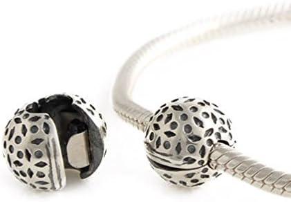 Andante-Stones Argento Massiccio 925 Originale Perlina Clip Stopper Sfera con Gocce Ciondolo da Donna Charm Bead per bracciali e collane Europei + Sacchetto di Organza