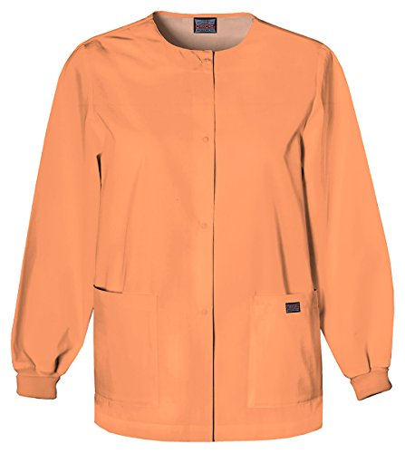 Cherokee Women's Traditional Snap Front Warm-Up Jacket_Orange Sorbet_5XL,4350