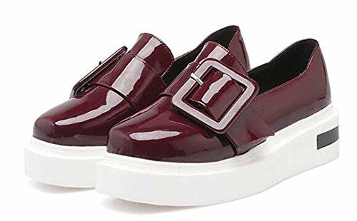 Showhow Womens Comode Fibbia Punta Rotonda Low Top Slip On Sneakers Con Plateau Tacco Zeppa Scarpe Vino Rosso