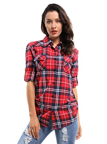 OCHENTA Women's Long Sleeve Button Down Plaid Flannel Shirt D001 Classic Red XS