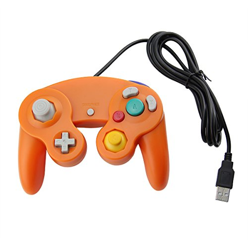 Orange Gamecube Style USB Wired Controller for PC Orange and Mac-Classic Nintendo GC Gamecube PC Wired Gamepad by MarioRetro (Plug Mario N Play)