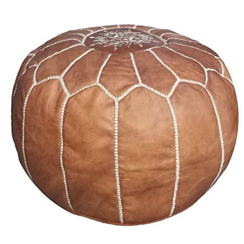Moroccan leather pouf ottoman handmade natural Unstuffed
