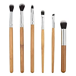 Facial Makeup Set Brush with Brush Bag Daily Use Fiber Bamboo Handle Eye Shadow Brush Contour Brush Set