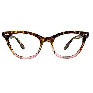 AStyles Vintage Inspired Half Tinted Frame Clear Lens Wayfarer Cat Eye Glasses (Tortoise-Pink, Clear)