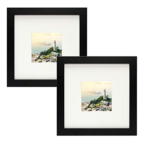 (Frametory,Set of 2 Black Square Instagram Photo Frame -8X8 Table-Top (4x4 Matted) - Wide Molding - Built in Hanging Features (8x8 Set of 2, Black))