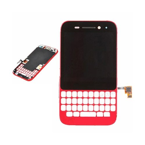 BisLinks Red Complete LCD Screen with Touchscreen Digitizer Lens Cover for BlackBerry Q5