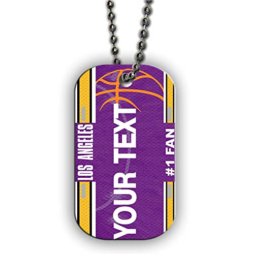 BRGiftShop Personalize Your Own Basketball Team Los Angeles Purple and Gold Single Sided Metal Military ID Dog Tag with Beaded Chain ()