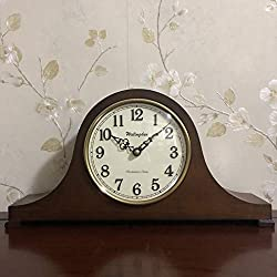 TXL Mantel Clock 16.5 Silent Decorative Ash Wood Desk Clock with Chime Sound Battery Operated, Light Wooden Design for Living Room Office Kitchen Shelf & Home Décor Gift,T20249